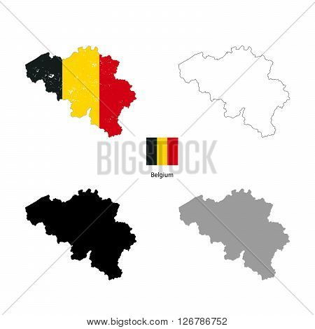 Belgium country black silhouette and with flag on background isolated on white