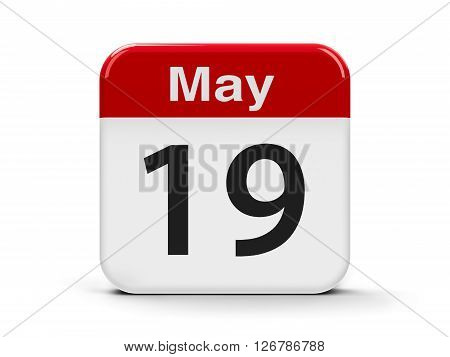 Calendar web button - The Nineteenth of May three-dimensional rendering 3D illustration