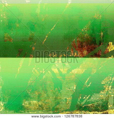 Retro style graphic composition on textured grunge background. With different color patterns: yellow (beige); brown; green; blue; red (orange); cyan