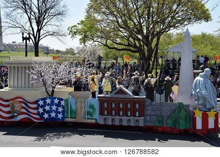 WASHINGTON, DC - APR 16: Model monuments at the 2016 National Cherry Blossom Parade in Washington DC, as seen on April 16, 2016. Thousands of visitors gathered to attend this annual event.