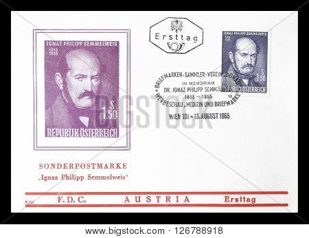 AUSTRIA - CIRCA 1965 : Cancelled First Day Cover letter printed by Austria, that shows Ignaz Philipp Semmelweis.