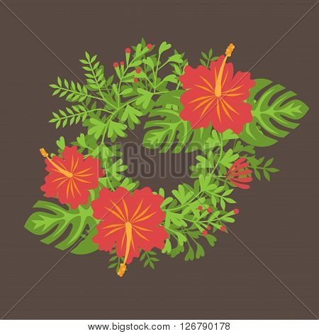 Set of tropical palm leaves and flowers hibiscus flower hawaii, exotic summer flower background.
