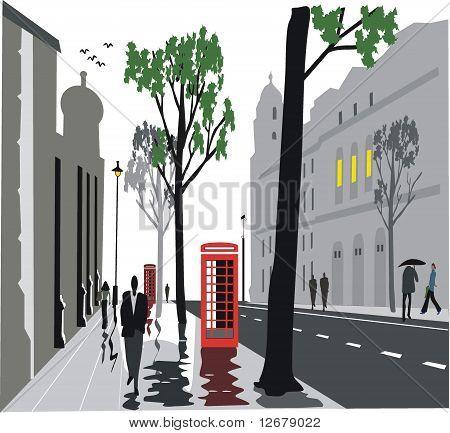 Whitehall street, London illustration
