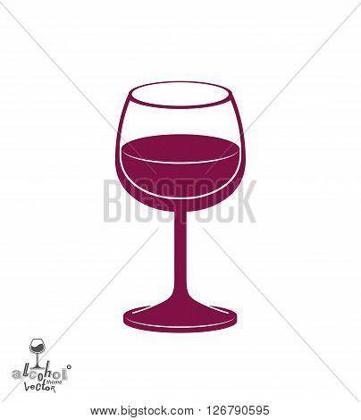 Classic vector goblet half full with wine stylish alcohol theme illustration. Lifestyle graphic design element