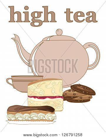 an illustration of an afternoon tea advert with crockery and cakes on a white background