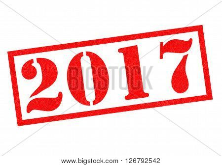 2017 red Rubber Stamp over a white background.