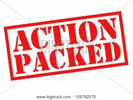 ACTION PACKED red Rubber Stamp over a white background.
