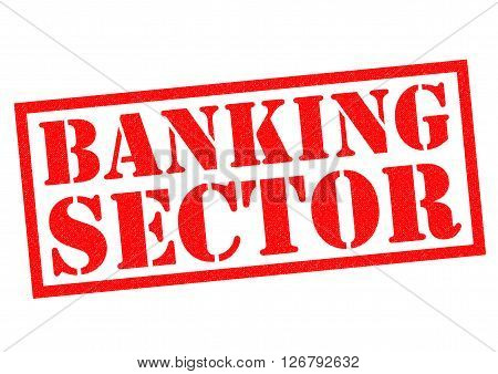 BANKING SECTOR red Rubber Stamp over a white background.