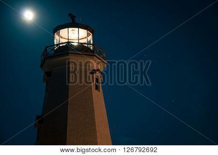 Glowing lighthouse in prince edward island Canada