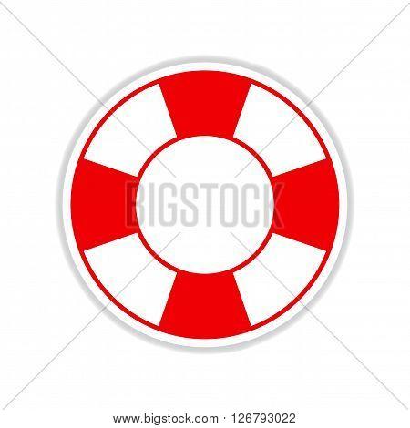 paper sticker on white  background round Lifebuoy