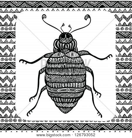 Coloring Page of Black Bug with Hand Drawn Patterns, Zentangle Vector Illustartion, Tribal Totem Insect for Adult Coloring Books or Tattoos, Isolated on Background. Monochrome Sketch.