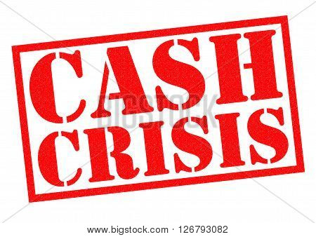 CASH CRISIS red Rubber Stamp over a white background.