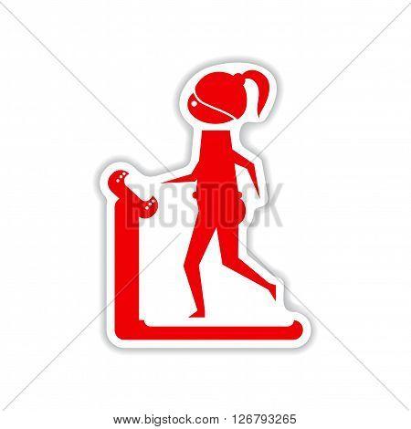 paper sticker on white  background girl on treadmill