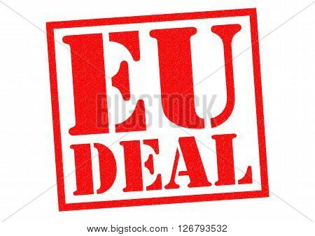 EU DEAL red Rubber Stamp over a white background.