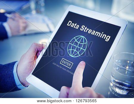 Data Streaming Online Internet Technology World Concept
