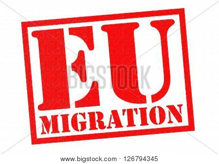 EU MIGRATION red Rubber Stamp over a white background.