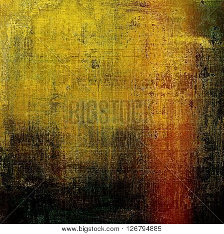 Sharp textured background, aged vintage backdrop with grungy style elements and different color patterns: yellow (beige); brown; green; red (orange); black