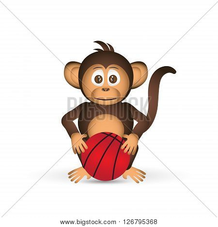 Cute Chimpanzee With Basketball Ball Sport Little Monkey  Eps10