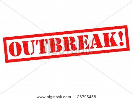 OUTBREAK! red Rubber Stamp over a white background.