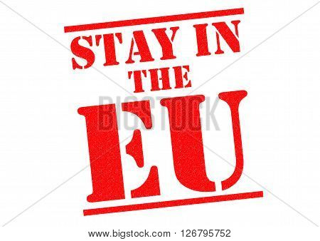 STAY IN THE EU red Rubber Stamp.