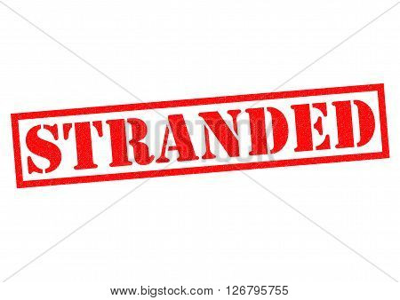STRANDED red Rubber Stamp over a white background.