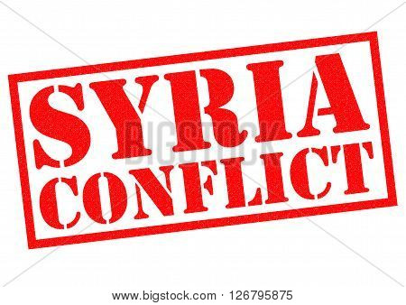 SYRIA CONFLICT red Rubber Stamp over a white background.