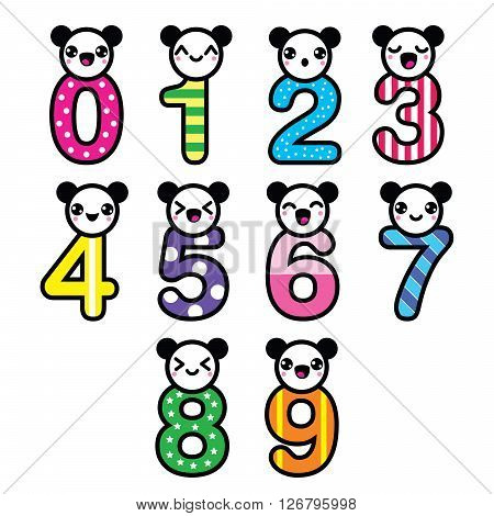 Cute bear Kawaii numbers set - vector