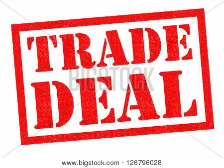 TRADE DEAL red Rubber Stamp over a white background.