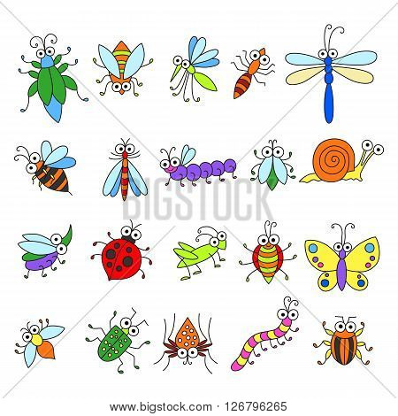 Set of funny cartoon insects isolated on white background. Cute fly butterfly dragonfly snail beetle caterpillar ant spider ladybug grasshopper bee mosquito. Colorfull characters for you design.