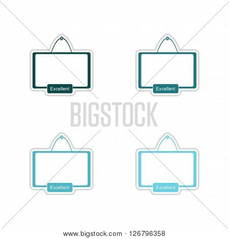 Set of paper stickers on white  background interactive board