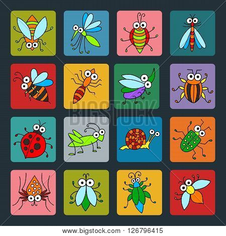 Set of vector funny insects icons. Cartoon characters on colored basis for you design. Childish illustration.