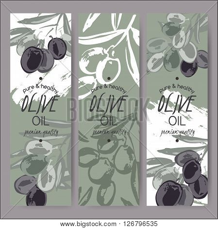 Set of 3 vector olive oil label templates based on hand painted elements. Great for packaging and advertising design.