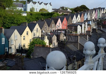 view of cobh town houses in county cork ireland from the catherdral