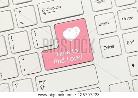 White Conceptual Keyboard - Time To Find Love (pink Key)