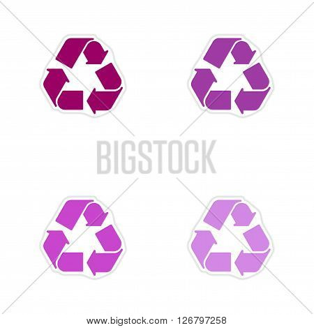 Set of paper stickers on white  background arrows recycling