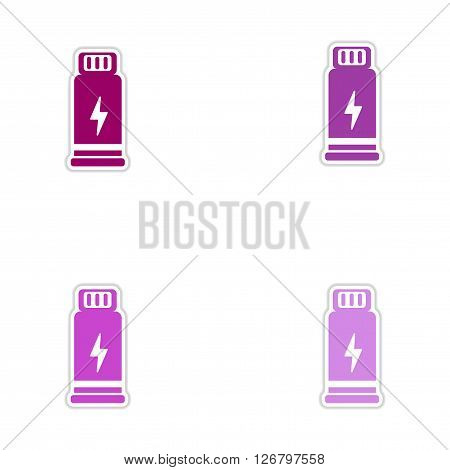 Set of paper stickers on white  background Bottles potion