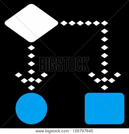Algorithm Scheme vector toolbar icon. Style is bicolor flat icon symbol, blue and white colors, black background, rhombus dots.