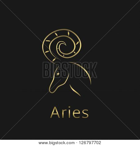 Aries Zodiac sign. Aries abstract symbol. Aries golden icon
