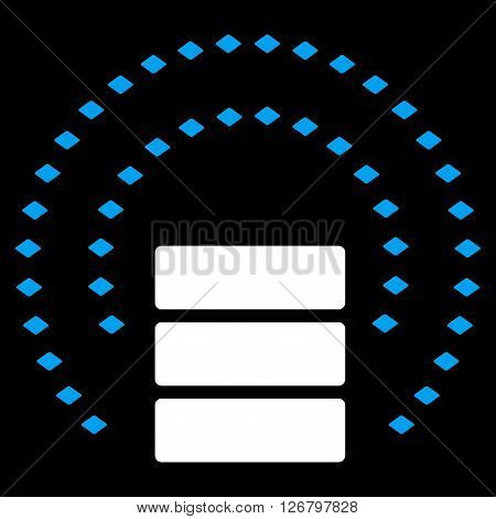 Database Sphere Shield vector toolbar icon. Style is bicolor flat icon symbol, blue and white colors, black background, rhombus dots.