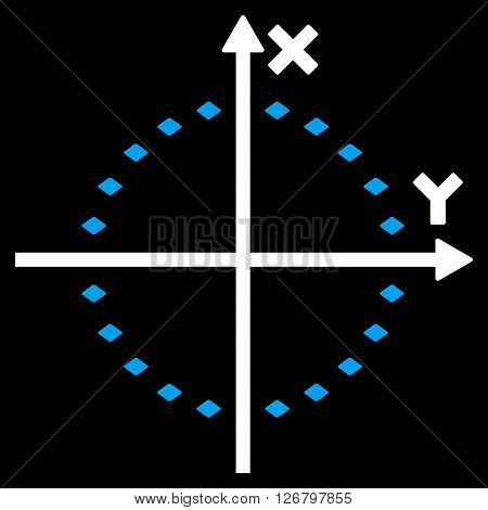 Dotted Circle Plot vector toolbar icon. Style is bicolor flat icon symbol, blue and white colors, black background, rhombus dots.