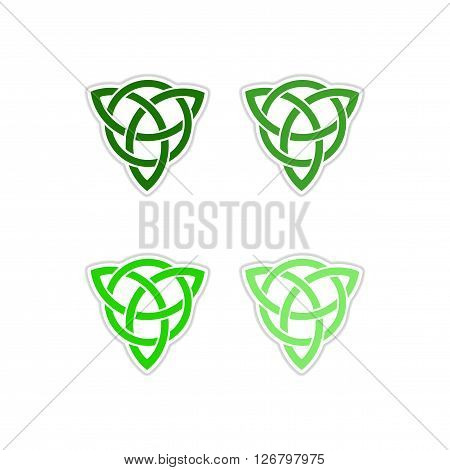 Set of paper stickers on white  background  celtic symbol