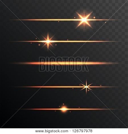 Flare Glowing Lights and Stars Set on Transparent Background. Vector illustration