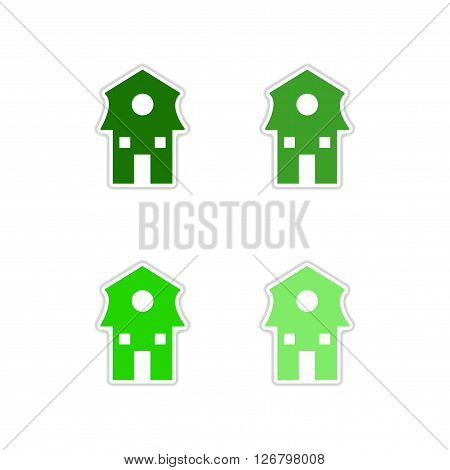 Set of paper stickers on white  background Dutch house