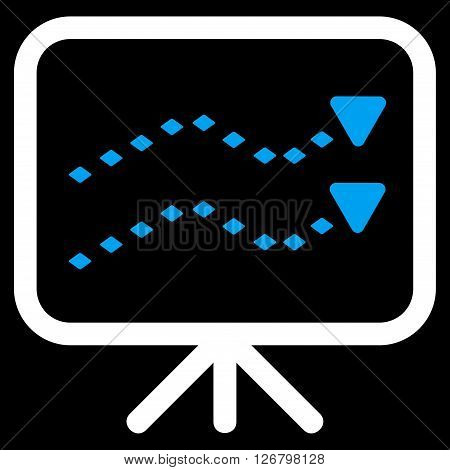 Dotted Trends Board vector toolbar icon. Style is bicolor flat icon symbol, blue and white colors, black background, rhombus dots.