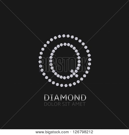 Q Letter with diamonds. Expensive, presious symbol. Luxury logo