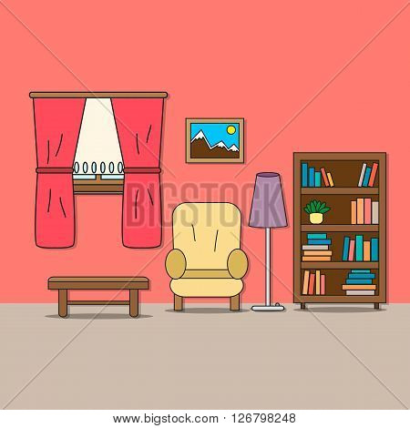 Design of room - sitting room with chair lamp bookcase table picture and window with curtains. Vector illustration for interior.