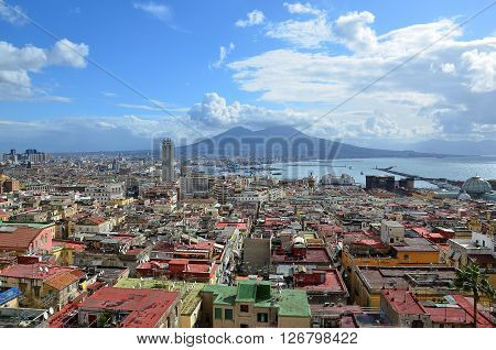 landscape with Naples city and Vesuvius volcano in background