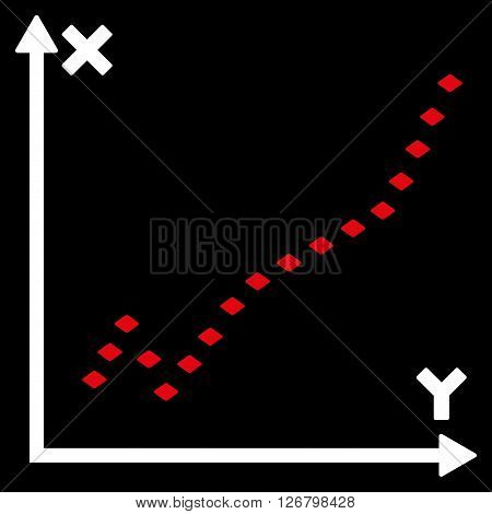Dotted Function Plot vector toolbar icon. Style is bicolor flat icon symbol, red and white colors, black background, rhombus dots.