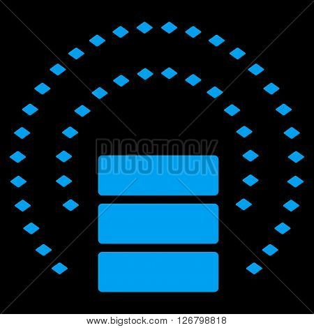 Database Sphere Shield vector toolbar icon. Style is flat icon symbol, blue color, black background, rhombus dots.