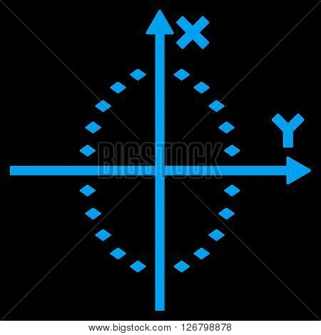 Dotted Ellipse Plot vector toolbar icon. Style is flat icon symbol, blue color, black background, rhombus dots.